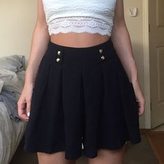 High Waisted Korean Skort *Not Brandy* Adorable flowy skort from Seoul, Korea! Perfect for summer. Looks brand new, great condition, only worn a couple times. Would fit size small or medium. Stretchy waist. Color is navy blue with gold buttons! Brandy Melville Shorts Skorts