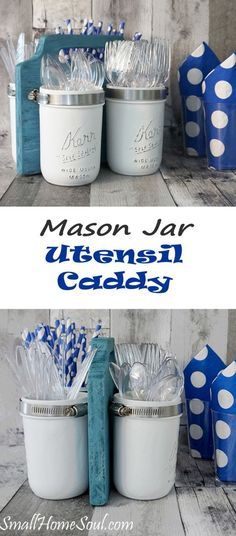 DIY Mason Jar Utensil Caddy - Perfect for BBQs or Parties - Girl, Just DIY! : Ready for Summer Picnics? This Mason Jar Utensil Caddy is perfect for BBQ or a potluck. Make this DIY project in a day with my tutorial and be ready to party, Diy Projects In A Day, Diy Home Decor Projects, Decor Ideas, Diy Ideas, Craft Projects, Decorating Ideas, Cake Decorating, Wood Projects, Craft Ideas