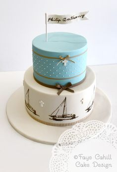 Retro Sailboats Cake with chocolate, blue and natural colours by Faye Cahill Cake Design
