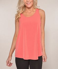 Loving this Coral Sleeveless Tunic - Women on #zulily! #zulilyfinds