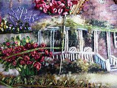 Вышивка картины в смешанной технике «Лебединый домик». Мастер класс с фото. Часть седьмая