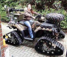 why the hell would you have a spare tire on a tracked vehicle..... because your so rich your retarded!   could she even fire that weapon while operating?, or are tou supposed to drive up....hop off, run behind, arm and fire?