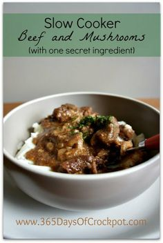 Slow Cooker Beef and Mushrooms with one special ingredient