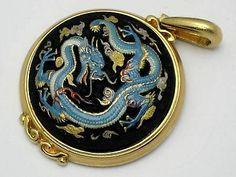 Vintage Toshikane Arita Porcelain Enamel Dragon Pendant | eBay Reptiles, Dragon Pendant, Vintage Designs, Brooch Pin, Pocket Watch, Baby Items, Porcelain, Enamel, Buy And Sell