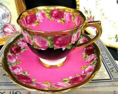 RARE ROYAL ALBERT tea cup and saucer pink gold cabbage rose teacup pattern a/f