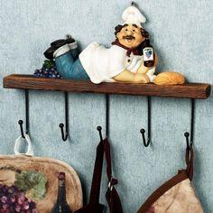10 Charming and Fun Kitchen Wall Hooks Kitchen – home accessories Fat Chef Kitchen Decor, Grape Kitchen Decor, Bistro Kitchen, Kitchen Themes, New Kitchen, Kitchen Hooks, Best Kitchen Designs, Le Chef, Home Decor Items