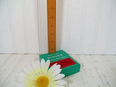 Retro Freestanding Hem / Skirt Marker - Vintage Mini-Max Singer Sewing Wood Rule Measure - Green Metal Base & Red Pin Cushion - 7-28 Inches $27.00 by DivineOrders