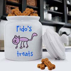 Personalized Ceramic Cat Treat Jar. #Personalize with 1 line up to 10 characters. #pet #gifts