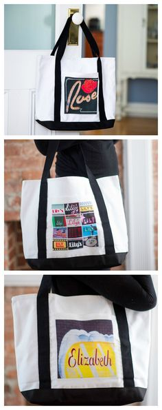 Custom canvas tote bags featuring names in photo of actual signs.  This personalized tote bag is large enough to tote essentials to school, work or shopping. Also makes a great Bridesmaid and teacher gift!