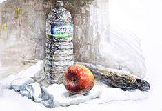 정물수채화 생수 사과 북어 삼다수 수채화 #클래스미술학원 #정물수채화 #정물화 #수채화 #소묘 #포트폴리오 #홍대미술학원 #watercolor #미대입시 #예고입시 #입시미술 Watercolor Fruit, Watercolor Portraits, Painting, Art, Painting Art, Paintings, Painted Canvas, Drawings