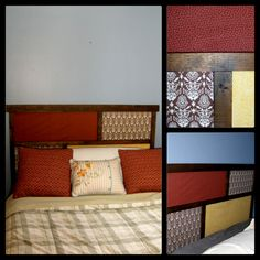 DIY Head Board:  ANYONE can do this one.  Fabric and wood