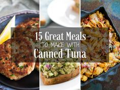 15 awesome recipes for canned tuna! Tuna patties, tuna salad, tuna pasta, and more! Tuna Fish Recipes, Canned Tuna Recipes, Lunch Recipes, Seafood Recipes, Dinner Recipes, Cooking Recipes, Tuna Meals, Drink Recipes, Simply Recipes