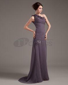 Long Evening Dresses-Chiffon One Shouder Ruffle Floor-Length Sheath Evening Dresses