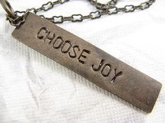 Choose Joy Necklace Hand Stamped Jewelry by CobwebCorner on Etsy, $18.00