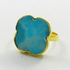 Nice LARIMAR gemstone sterling solid 925 silver clover ring, fashion jewellery #Handmade #Band