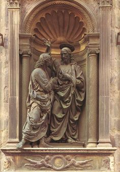 Andrea del Verrocchio (1435-1488)  Christ and Doubting Thomas  Bronze  1476-1483  Orsanmichele (Florence, Italy)