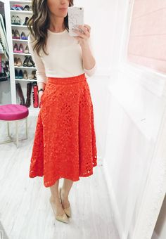 Wearing a midi skirt