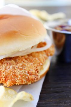 Crispy Pork Tenderloin Sandwiches deliciously crispy on the outside, tender and juicy in the center, these Iowa-inspired sandwiches will become a favorite. Fried Pork Tenderloin, Pork Tenderloin Sandwich, Breaded Pork Chops, Pork Loin Chops, Pork Tenderloin Recipes, Pork Recipes, Cooking Recipes, Pork Tenderloins, Game Recipes