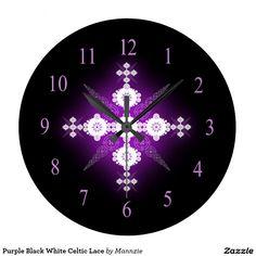 Purple Black White Celtic Lace Large Clock