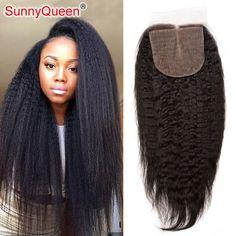 Grade 6A Brazilian Silk Base Closure Kinky Straight Hair 4X4 Kinky Straight Silk Base Closure Hidden Knots Brazilian Virgin Hair
