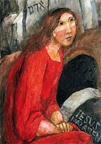 Sieger Köder |Maria von Magdala am offenen Grab. Ausschnitt aus dem Kieler Altar © Rottenburger Kunstverlag