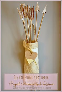This is the most awesome Valentine's project!  quiver and arrows - DIY