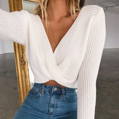 Sale Crop Tops Knitted Sweaters V Neck Ladies Pullover .- 🎁 Sale 🛍️ Crop Tops Knitted Sweaters V Neck Ladies Pullover Sweaters Vintage Sexy Short Style Tops - Crop Top Sweater, Sweater And Shorts, Long Sleeve Sweater, Wrap Sweater, Cropped Sweater Outfit, Sweater Fashion, Overalls Outfit, Long Sleeve Bodysuit, Long Sleeve Crop Top