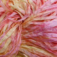 Hand Dyed Ribbon  SORBET  dazzle 5 yards by JodyPoesy on Etsy, $5.00
