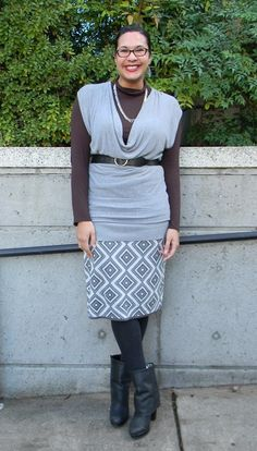 I like the tunic with the long sleeves under.