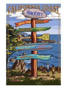 Monterey, California - Destination Sign Premium Poster