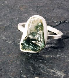 Bi-colour Rough Tourmaline Ring - Green and white with silver band