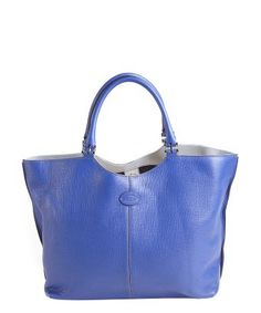 Tod's : blue leather hinged top handle tote