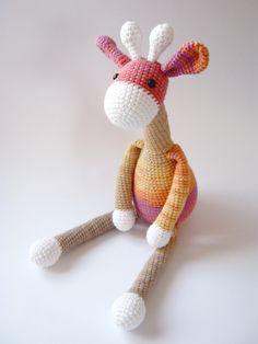 READY TO SHIP - Crochet Giraffe (Pink - Beige - Orange) Amigurumi Animal Stuffed Animal Baby Gift Crochet Toys Gift IdeasBirthday gift (38.00 USD) by oxihandmade