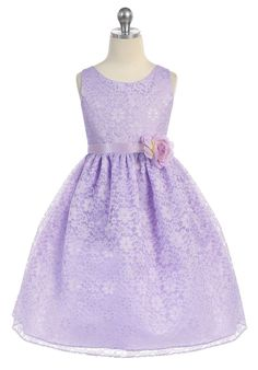 Will your baby half-sister be your  Flower girl?  Girls Lilac Floral Lace Dress by Calla D749