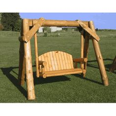 This is our robust solid red pine log yard swing.  Handmade in America and delivered free to 48 states.  #pine #log #yard #swing