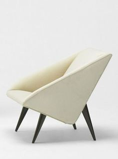 Lacquered Wood Lounge Chair