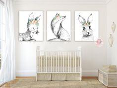 3 Fox Bunny Rabbit Deer Wall Art Print Boho Woodland Blush Bohemian Floral Nursery Baby Girl Room Set Lot Prints Printable Decor
