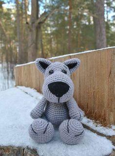 Crochet wolf amigurumi pattern, would make a good dog pattern too.