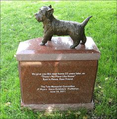 A photo of a monument erected to the dog Toto, from the Wizard of Oz, at Hollywood Forever Cemetery. Wizard Of Oz Movie, Wizard Of Oz 1939, Toto Wizard Of Oz, Famous Tombstones, Hollywood Forever Cemetery, Pet Cemetery, Cairn Terriers, Scottish Terriers, Famous Graves