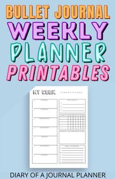 Have your entire week planned out to perfection with these bullet journal printable weekly planner pages! #weeklyplanner #planneraddict #bulletjournal Weekly Planner Template, Planner Inserts, Planner Pages, Printable Planner, Bullet Journal Hacks, Bullet Journal Printables, Bullet Journal Layout, Perfect Planner, Weekly Spread