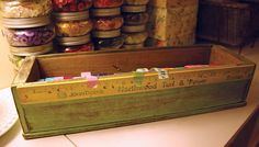 Repurposed Upcycled Wood Sewing Machine Cabinet Drawer Washi Tape Dispenser Box with Yardstick in Light Ivy Green and Yellow. $59.00, via Etsy.