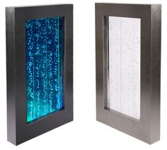 3ft / 95cm Hanging Portrait Bubble Water Wall with Colour Changing LED Lights - Indoor Use  Turn your room into a kaleidoscope of sights with our bubble walls.   This striking wall mounted water feature with brushed stainless steel frame will look great in any