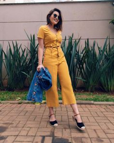 Mustard jumpsuit and denim Summer Outfits, Casual Outfits, Cute Outfits, Fashion Outfits, Fashion Moda, Womens Fashion, Moda Vintage, Cool Style, My Style
