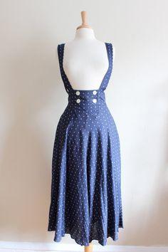 Vintage Blue & White Print Highwaist Suspender Skirt or Jumper with full midi length skirt