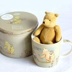 Classice Mini Winnie the Pooh Bear and Ceramic Cup in a Classic Pooh Keepsake tin