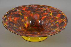 e1b64- Art Deco Tangoglas Schale mit farbigen Einschmelzungen, Böhmen ~1920/40