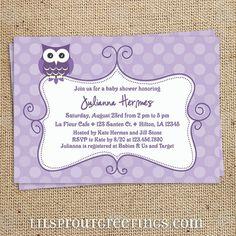 Owl Girl Baby Shower Invitation- Purple Lavendar
