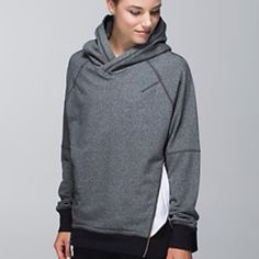 Lululemon grey Om and Roam pullover Size 6, color : grey , hooded pullover with zippers on the sides , in excellent condition : no flaws or signs of wear.  From a smoke free home , no trades please , pp accepted lululemon athletica Tops Sweatshirts & Hoodies