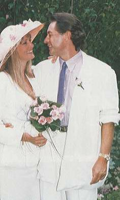 Twiggy and Leigh Lawson at their wedding in 1988.  Still married!