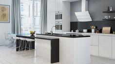 Kuchnia w bieli i szarościach z okapem ze szkła hartowanego Vintio 90 White marki GLOBALO.